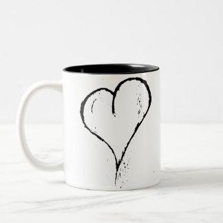Grov svart hjärta Två-Tonad mugg