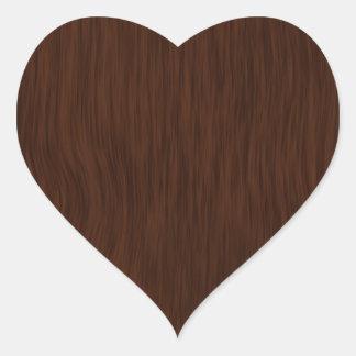 Grov Wood kornbakgrund för mörk Hjärtformat Klistermärke