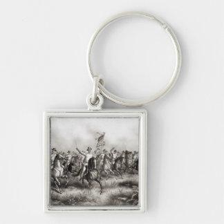Grova ryttare: Överste Theodore Roosevelt Fyrkantig Silverfärgad Nyckelring