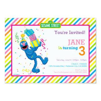 Grover görade randig födelsedag 12,7 x 17,8 cm inbjudningskort