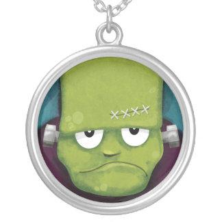 Grumpy Frankenstein Halloween hänge Silverpläterat Halsband