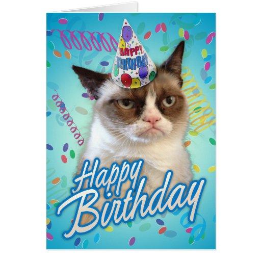 Grumpy katt för grattis på födelsedagen kort