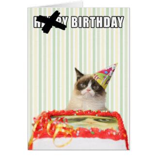 Grumpy katt - grattis på födelsedagenkort hälsningskort