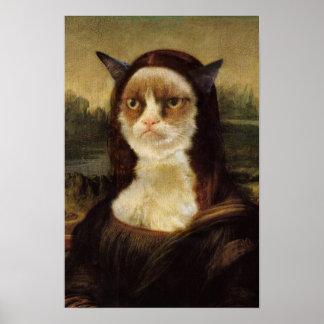Grumpy katt Mona Lisa Posters