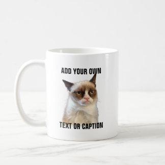 Grumpy kattilsken blick - tillfoga din egna text vit mugg
