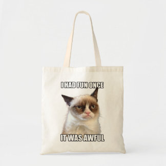 Grumpy katttoto tote bags