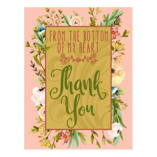 Grund av min blom- tackvykort för hjärta vykort