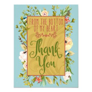 Grund av mitt blom- tackkort för hjärta 10,8 x 14 cm inbjudningskort