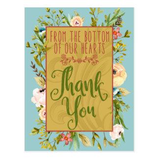 Grund av vår blom- tackvykort för hjärtor vykort