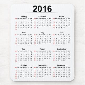Grundläggande kalender 2016 musmattor