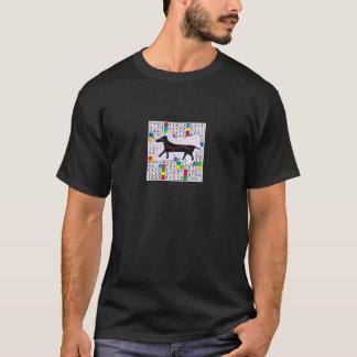 Grundläggande mörkt korsord för T-tröja w/Dog och T-shirt