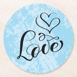 Grunge för bröllop för blått för vintagekärlek underlägg papper rund