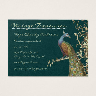 Grunge för påfågelträdlöv virvlar runt design visitkort