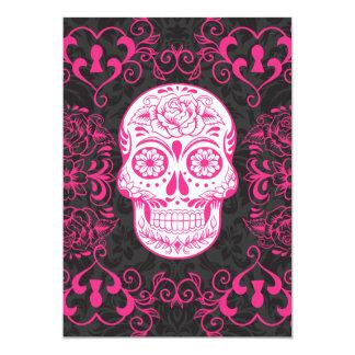 Grunge för ro för skalle för shock rosasvartsocker 12,7 x 17,8 cm inbjudningskort