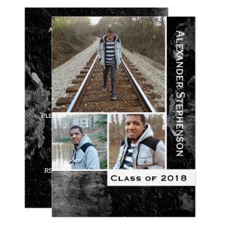 Grunge hårdnar studenten 2018 för 3 12,7 x 17,8 cm inbjudningskort