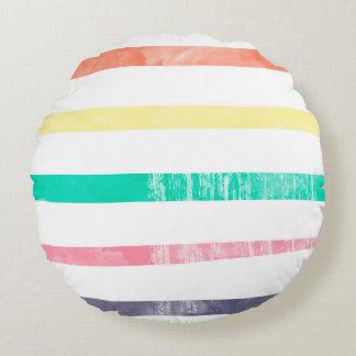 Grunge ridit ut färgrikt randmönster rund kudde