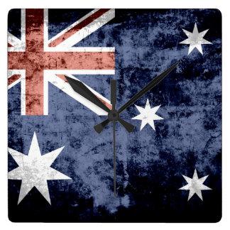 GrungeAustralien flagga 2 Fyrkantig Klocka