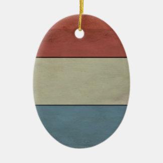(Grunged) Luxembourg flagga, Julgransprydnad Keramik