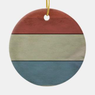 (Grunged) Luxembourg flagga, Rund Julgransprydnad I Keramik