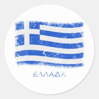 GrungeGrekland flagga Runda Klistermärken