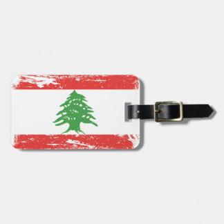 GrungeLibanon flagga Bagagebricka