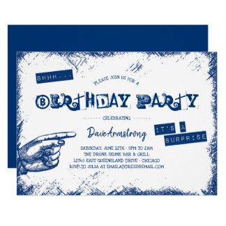 Grungeöverrrakningfödelsedagsfest Shhh 12,7 X 17,8 Cm Inbjudningskort