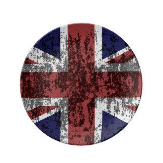 Grungy facklig jackflagga porslinstallrik