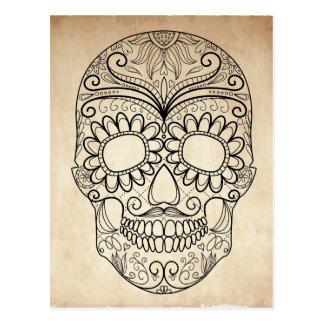 Grungy skalle för day of the dead vykort