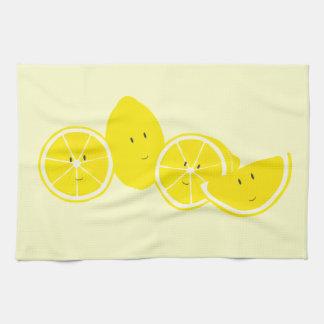 Grupp av att le citrontecken kökshandduk