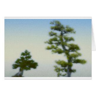 Grupp av Bonsaigrästräd Hälsningskort