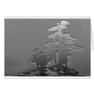 Grupp av Bonsaigrästräd i metalliskt silver Hälsningskort