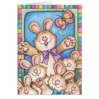 Grupp av kaniner - hälsningkort hälsningskort