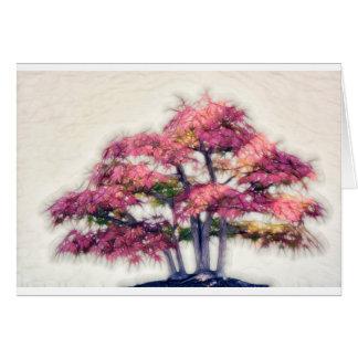 Grupp av Painterly Bonsailönnträd Hälsningskort