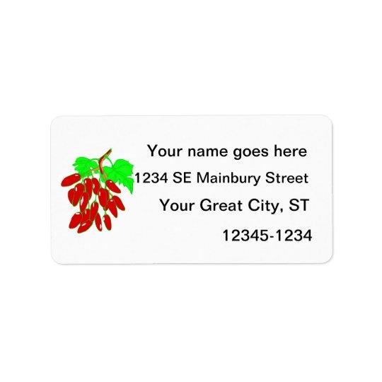Grupp av röda peppar adressetikett