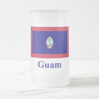 Guam flagga med namn frostat ölglas