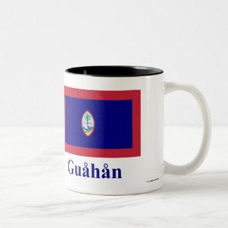 Guam flagga med namn i Chamorro Två-Tonad Mugg