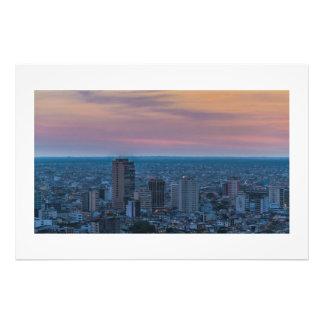 Guayaquil beskådar flyg- Cityscape solnedgångplats Fototryck