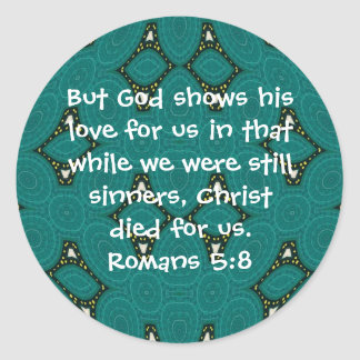 Gud 5:8 för Romans för citationstecken för Runt Klistermärke
