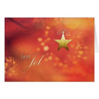 Gud Jol, god jul i norrmannen, stjärna Hälsningskort