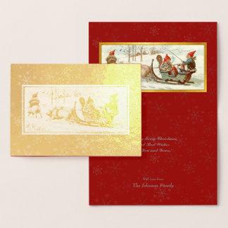Gud Jul - svensk vykortjulkonst #3 Folierat Kort