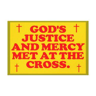 Gud rättvisa och förskoning som möts på korset canvastryck