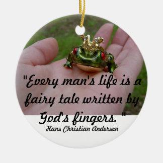 Gud saga rund julgransprydnad i keramik