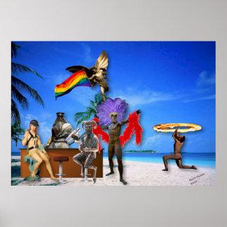 Gudar på för pridekonst för strand LGBT affischen Poster