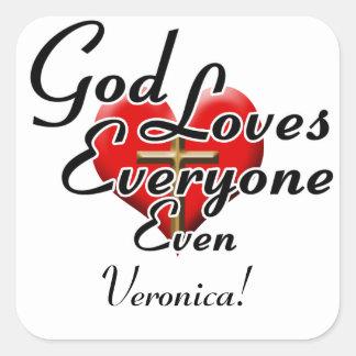 Guden älskar Veronica! Fyrkantigt Klistermärke