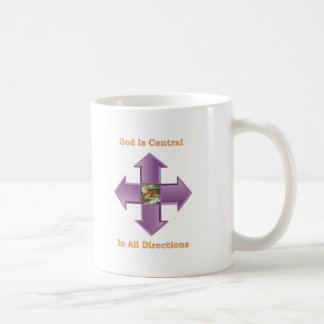 Guden är riktningar för central sammanlagt kaffemugg