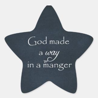 Guden gjorde a långt i ett Mangercitationstecken Stjärnformat Klistermärke