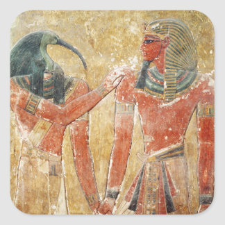 Guden Thoth med Seti mig i graven av Seti Fyrkantigt Klistermärke