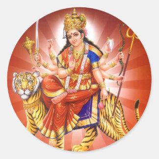 Gudinna Durga (den hinduiska gudinnan) Runt Klistermärke