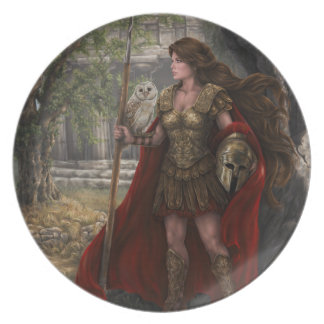 Gudinnan Athena pläterar Tallrik