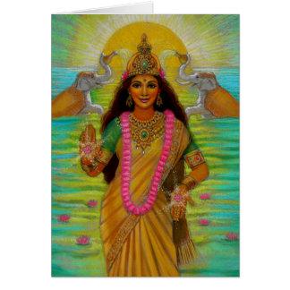 Gudinnan Lakshmi noterar kortet Hälsningskort
